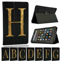 For Amazon Fire 7 / HD 8 / HD 10 Tablet - Initial Name Leather Stand Cover Case