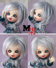"3""-4""9-10cm BJD fabric fur wig Light grey  AE Pukipuki lati 1/12 Doll Antiskid"