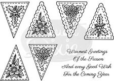 SWEET DIXIE Sue Dix FLORAL CHRISTMAS BUNTING Clear Photopolymer Stamps SDCSA6012