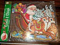 Beistle Santa and Sleigh Reindeer Cutouts 22130 Vintage Christmas 1978 Die Cut