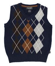 NWT E Land Kids Boys' Argyle Knit V Neck Sweater Vest in Navy Blue ~ Size 4