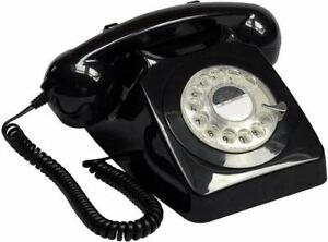 GPO 746 Classic Retro Rotary Telephone with Authentic Bell Ring - Black