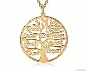 Personalised Sterling Silver  Family Tree Necklace FAST FREE DELIVERY 6-8 Days