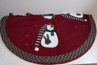 "Primitive Country Snowman Christmas Tree Skirt Large 50"" Round Plaid Trim"