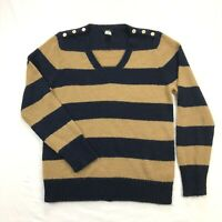 J Crew Womens XL Wool Mohair Blend Knit V Neck Beige Blue Stripe Sweater