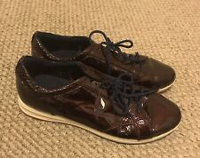 GEOX Respira Womens Burgundy Patent Leather  Sneakers Shoes 9 US 39 EUR 6 UK