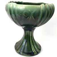 "Vintage Green Glazed Ceramic Compote Planter USA 8"""