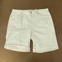 LOFT Outlet Curvy Denim Bermuda Shorts In White Size 16 NWT