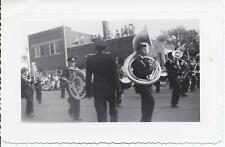 #545P Vntg Photo Lake Odessa Marching Band in Parade Playing Music Drums Tuba