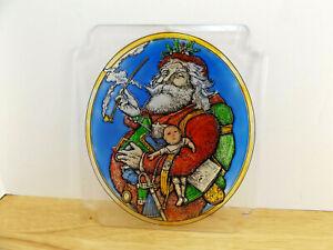 Vtg Christmas Large Plastic Sun Catcher Santa Clause Smoking A Pipe 1998