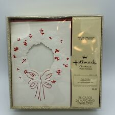 25 Vintage Hallmark Christmas Cards Photo Holder Cards Wreath 1 Box 3x3 Photo