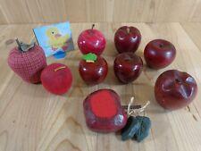 "RED APPLE FIGURINES Lot of 9 Wood Fabric Marble 2.5-3"" Small Bushel"