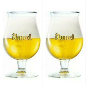 """Set of 2 Duvel Belgian Gold 16 oz Tulip Beer Drinking Glass Barware  6.5"""" New"""