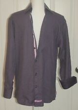 English Laundry Men's Lavender & Black L/S 100% Cotton Shirt Sz 16 32/33