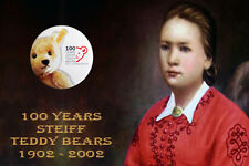 Steiff 100 Years Teddy Bears 1902 - 2002 Collector Badge and Margaret Card. Rare