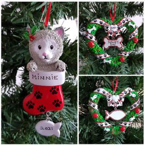 Personalised Pet Christmas Tree Decoration Pet Dog Cat Stocking Wreath Ornament