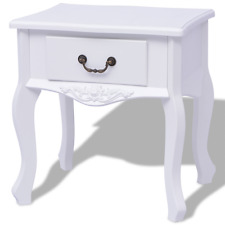 White Bedside Cabinet Bedroom Nightstand Drawer Storage Handle Side Table Tables