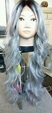 "human hair wig, blonde, silver, grey, lace front, real hair, 30"" long"