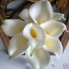 CALLA LILY WEDDING BOUQUET POSY REALTOUCH LATEX ARTIFICIAL 9 FLOWERS WHITE