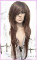 long brown wavy hair wigs women's human wig wigs