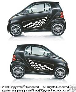 Smart Car Checkered Flag Racing Side Body Decals 3M