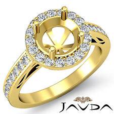 Diamond Engagement Pave Set Filigree Ring 14k Yellow Gold Round Semi Mount 1.3Ct