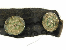 "2 ANTIQUE GLASS BUTTONS 1 1/4"" PAISLEY WITH GOLD TRIM CUT"