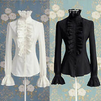 Women's Fashion Lace-up Solid Long Sleeve Ruffled Collar Tie Shirt Top Blouse UK