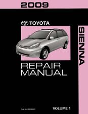 2009 Toyota Sienna Shop Service Repair Manual Book Volume 1 Only