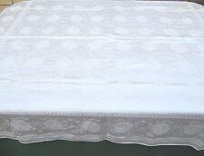 "Vintage Damask Tablecloth Floral Mums Off White 54x63"" Oblong"