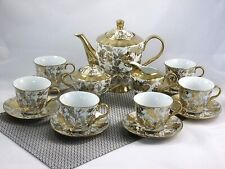 17 tlg Porzellan Teeservice Kaffeeservice Goldserie Tassen Kanne NEU
