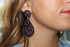 Oscar De La Renta Haute Couture Crystal Pave Teardrop Earrings  Deep Purple