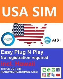 US Travel Prepaid DATA sim 14-30 days AT&T 4G unlimited download incl.Hawaii