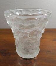 Joseph Inwald Barolac Czech Bohemian Pansy Frosted Art Glass Vase