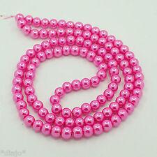 50 Glaswachsperlen 8mm pink rosa glänzend metallic Perlen Glasperlen