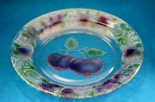 "11 PC FNG FIRNA  9"" CLEAR GLASS PLATES W/ STAINED COLORED GLASS  FRUIT PATTERN"