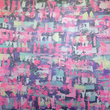 Abstraktes Gemälde auf Leinwand 1m x 1m Grau Weiß Pink Blau