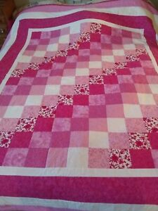 """FABULOUS COTTAGE QUILT! Pink and White Cotton Fabric. Lovely Design. 88"""" x 88"""""""