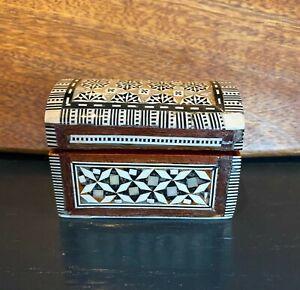 Persian Art Khatam Handmaid Marquetry Mother of Pearl Trinket Jewellery Box