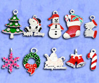 Wholesale Lots Mixed Silver Plated Enamel Christmas Charms Pendants