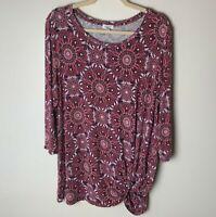 Westport Women's Top Size 1X 3/4 Sleeves Tie Side Casual Maroon Purple Pink