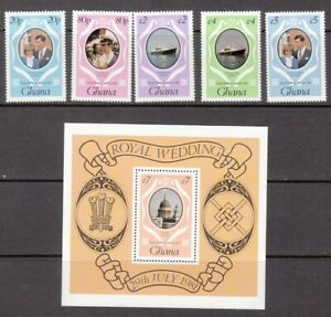 1981 Ghana Royal Wedding set of 5 mint stamps & mint minisheet.