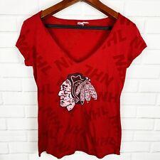 NHL Chicago Blackhawk Women's Hockey Red V-Neck Shirt Size XL