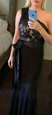 Cache Holiday Long Evening Dress Off One Shoulder Nude/Black Party Long Mermaid