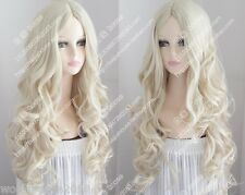 Cos light blonde long curly cosplay full Heat-resistant wig +wig cap