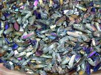 Rainbow Aura needle crystal drilled necklace/pendant 1/8-1.4 inch 25 piece lots