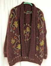 Jeanne Pierre FUZZY MOHAIR BLEND SWEATER Burgundy Embroidered Open Vintage Sz M