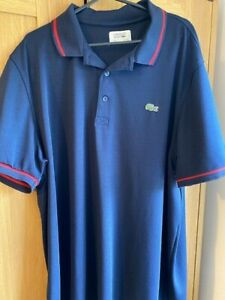 LACOSTE BLUE MEN'S POLO SPORTS POLYESTER SIZE 7 - US XXL - UK XL WITH RED TRIM