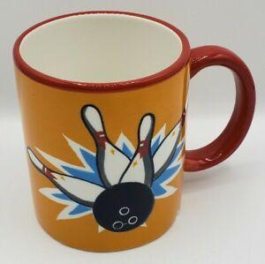 "Sonoma Coffee Cup Bowling Ball Pins Mug Tea 4"" Tall Sports Recreation Time"
