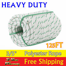 "US 3/5"" x 125' Double Braid Polyester Rope Sling 5900Lbs BREAKING STRENGTH White"